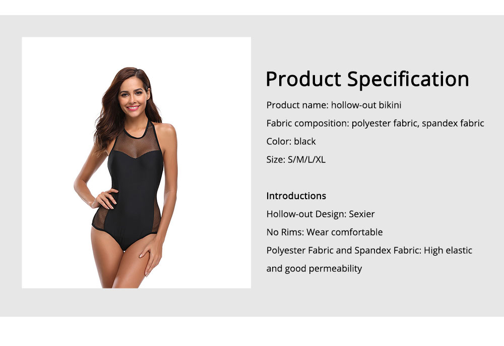 Hollow-out Bikini with Comfortable and Skin-friendly Polyester and Spandex Fabric for Ladies, No Rims One-piece Swimsuit 6