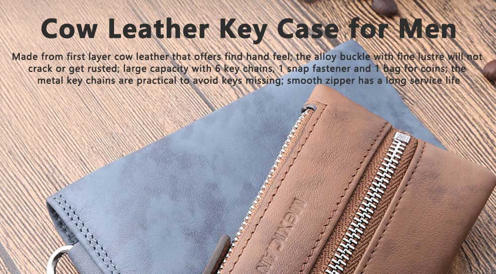 Leather Key Case for Men, Waist Hanged Zipper Key Case for Women, Multipurpose Key Case Wallet Mini Coin Purse 0