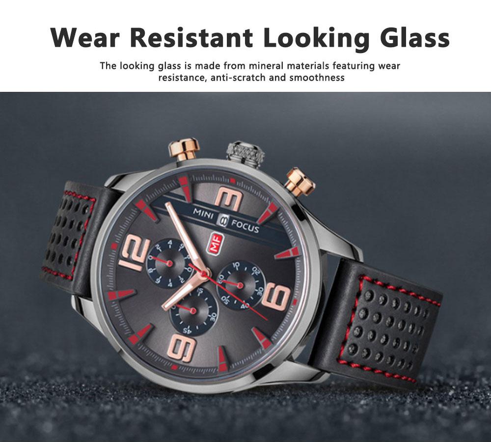 Mini Focus Men's Business Watch, MINI FOCUS Stylish Luminous Watches Leather Bracelet 3