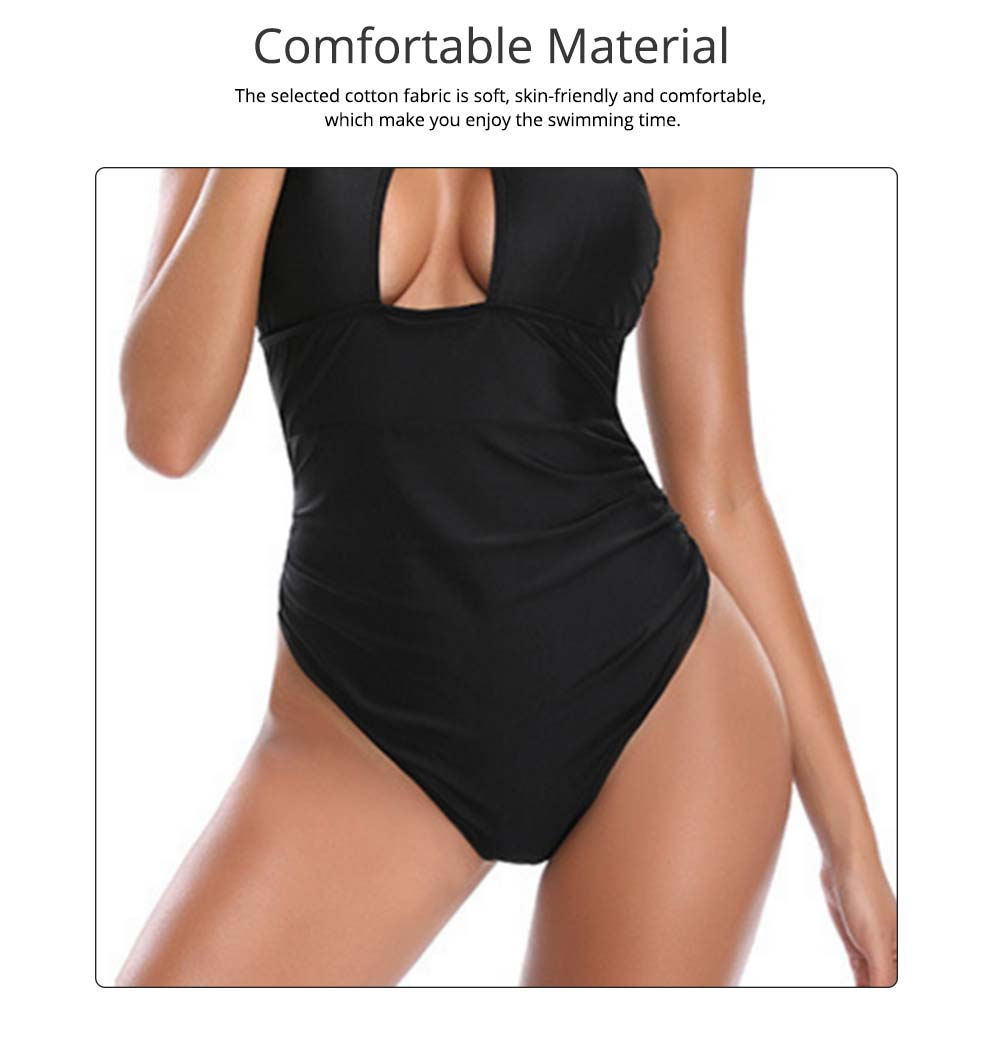 Polyester Spandex Swimsuit Cross Neck Black Bikini Cover Stomach Design for Women Sexy Bathing Suit One-piece Swimwear for Summer 3