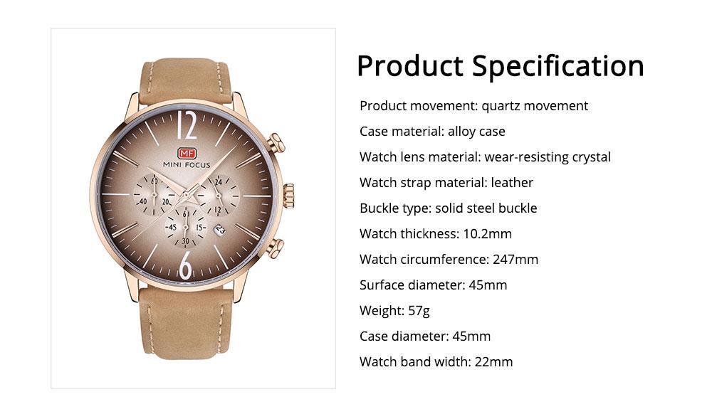 Fashionable Leather Strap Watch for Men Water-proof Round Dial Watch Minimalist Quartz Wrist Watch 6
