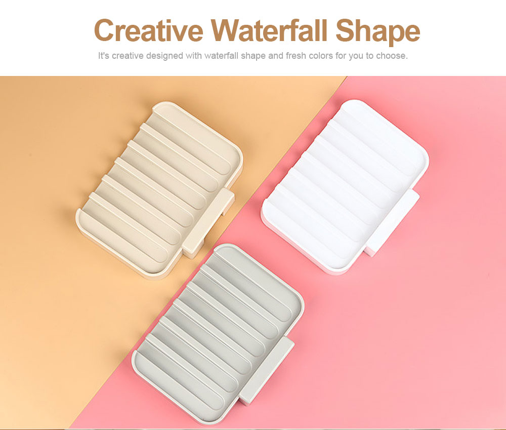 Plastic Suction Cup Wall Mounted Shower Soap Holder with Drain Container for Bathroom Kitchen, Creative Waterfall Shape Punch Free Soap Storage Holder 1