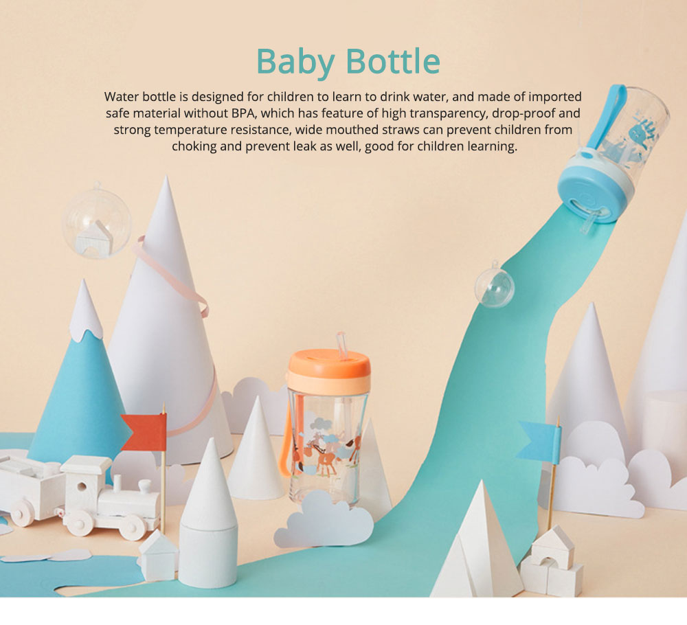Safe Material Bottle with Straw Leak-proof Glass Choke-resistance for Baby Learning Drink Cup 0