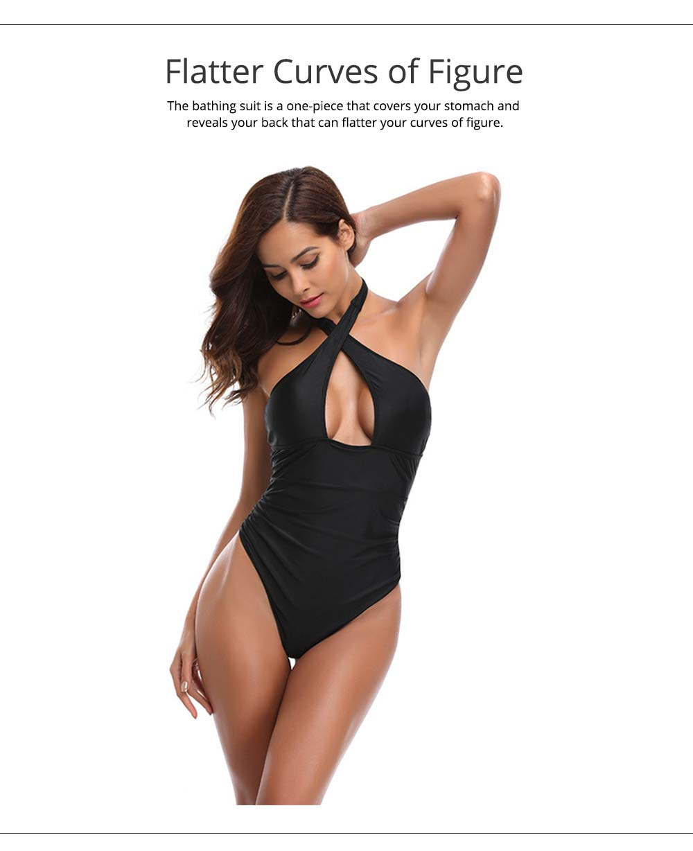 Polyester Spandex Swimsuit Cross Neck Black Bikini Cover Stomach Design for Women Sexy Bathing Suit One-piece Swimwear for Summer 2