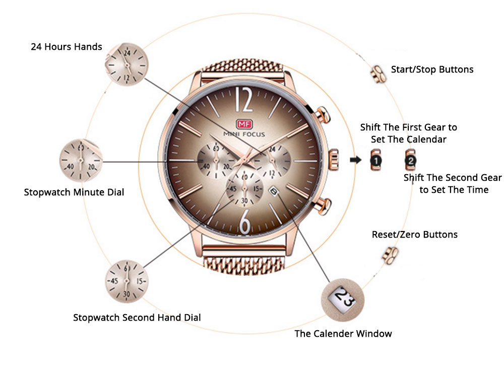 Wear-proof Stylish Watch, Skin-friendly Steel Strap Watch for Men, Water-proof Quartz Movement Round Alloy Dial Watch 4