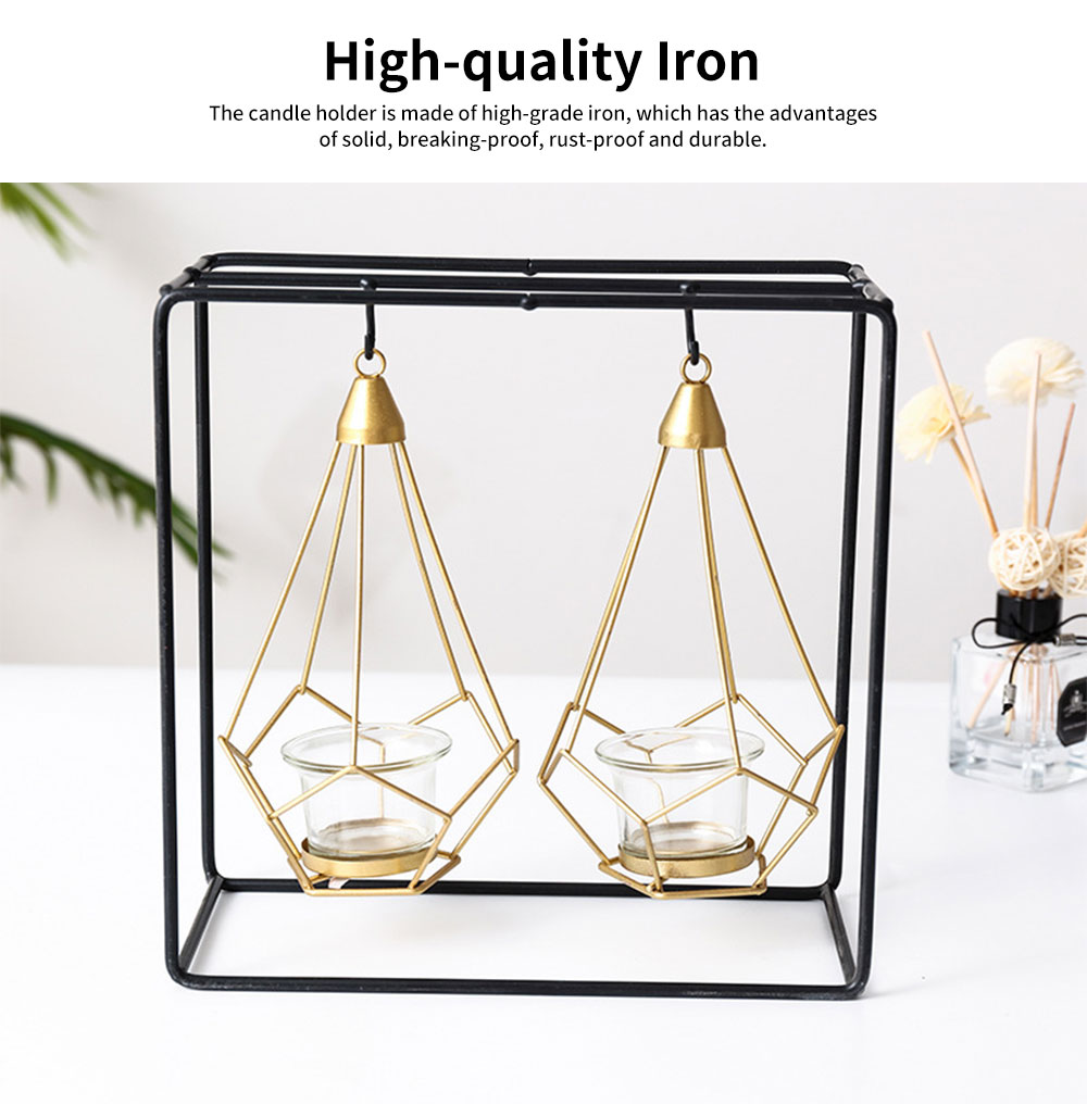 Minimalist Luxury Romantic Iron Candle Holder, Dinner Table Decoration Ornament Hollow Candelabrum 1