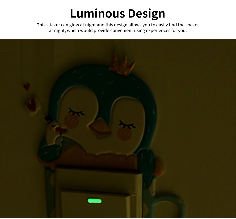 Creative Cute Cartoon Luminous Wall Socket Sticker Cover, Skin-friendly PU Nightlight Switch Power Decoration Ornament 2