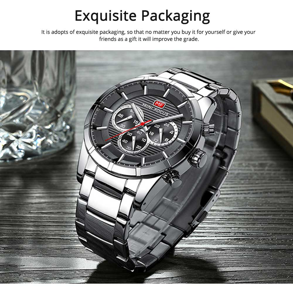 Luminous Waterproof Watch for Party Daily Life, Alloy Watchcase and Stainless Steel Watch Band Men's Wrist Watch 5