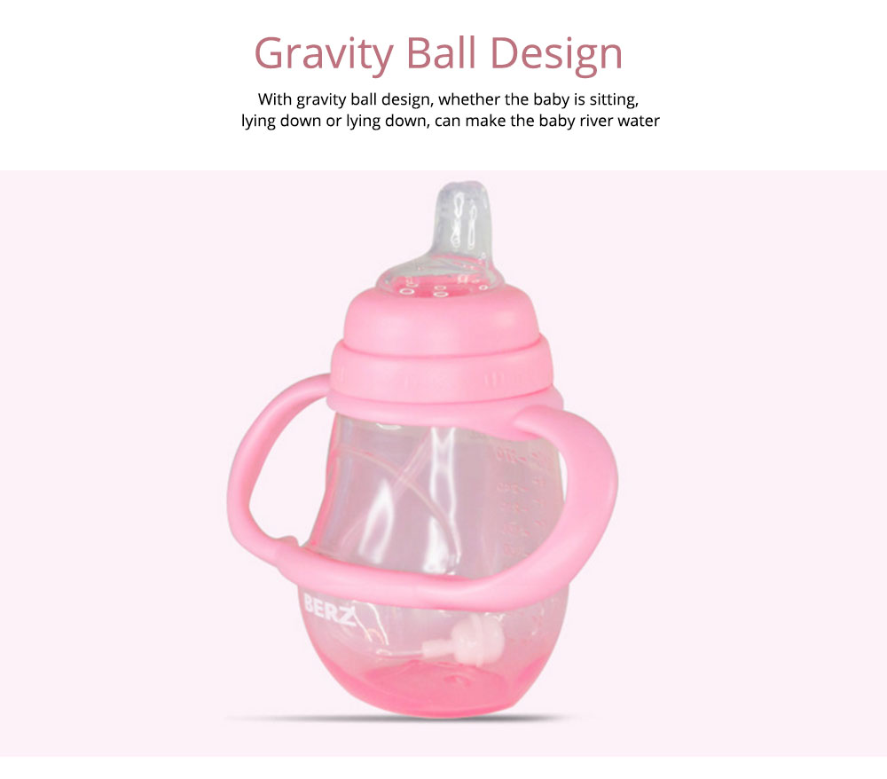 Silicone PP Material Bottle with Handle, Drop-proof Glass Bite-resistance Nipple for 6-18 Month Baby Cup 9