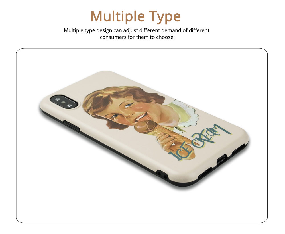 Oil Painting English Letters iPhone XS Case, Cute Boy and Lovely Girl Pattern 7P/8P Phone Cover 3