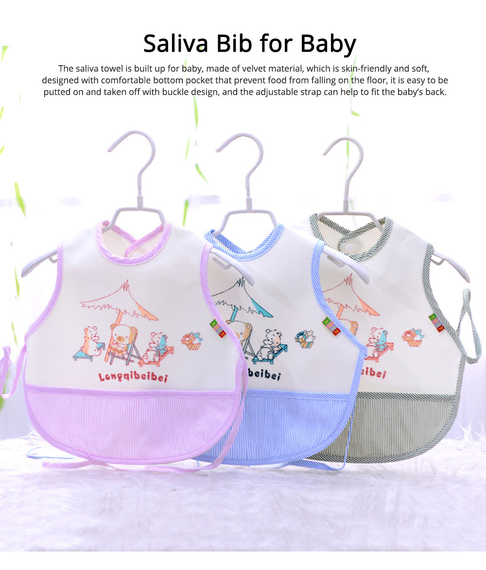 Velvet Material Bib for Baby Double-sided Mask with Bottom Pocket Buckle Saliva Cover Waterproof Baby Saliva Towel 0