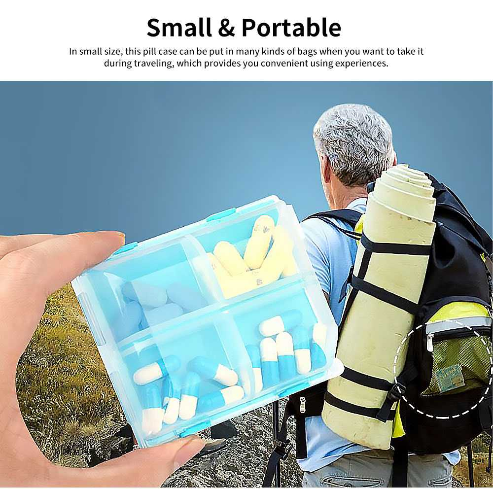 Portable Mini Double Layers Transparent Pill Case, Large Capacity Travel Outdoors Small Jewelry Storage Box 4