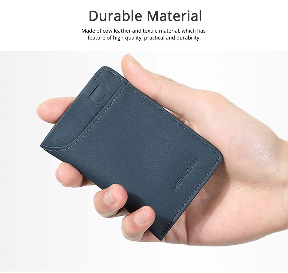 Mini Card Bag Cow Leather Textile Material Bag for Men Several Pockets Packs Portable Thin Card Holder 4