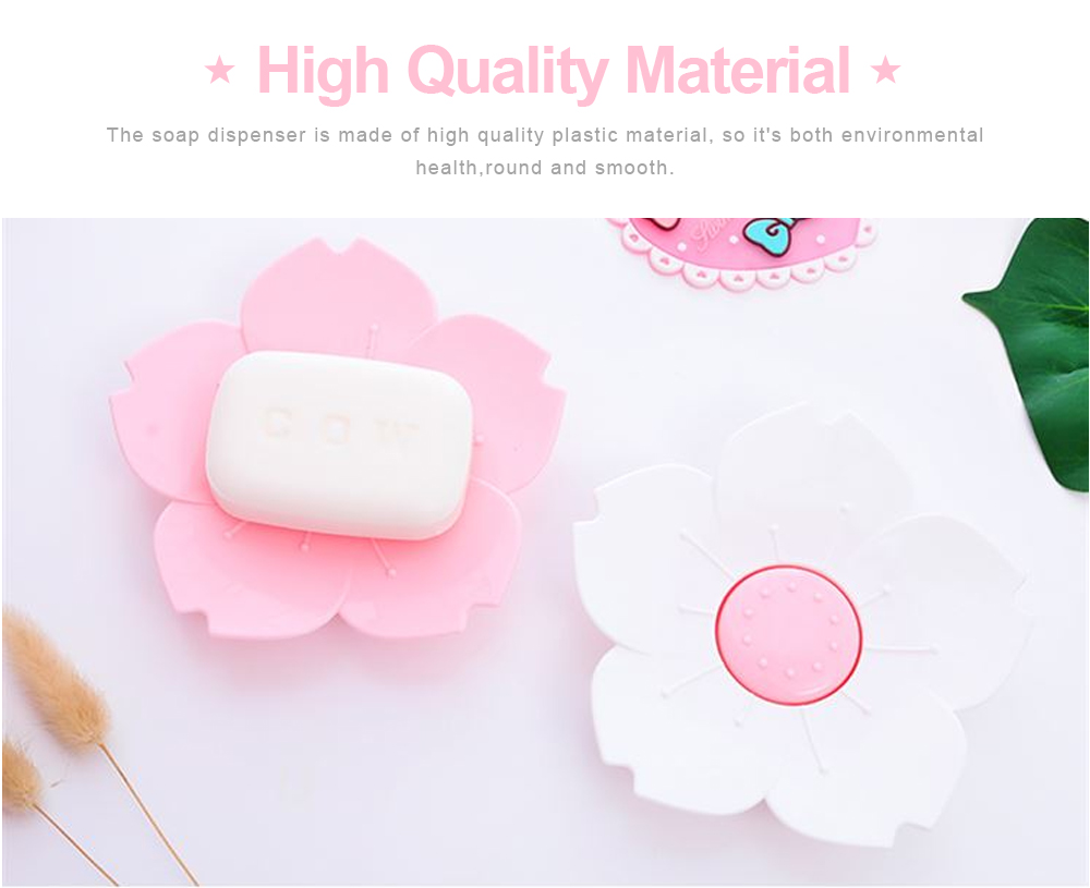 Pink Soap Box Cute Cherry Shape Plastic Shower Soap Holder with Drain Container for Home Kitchen Bathroom Soap Storage Box 4