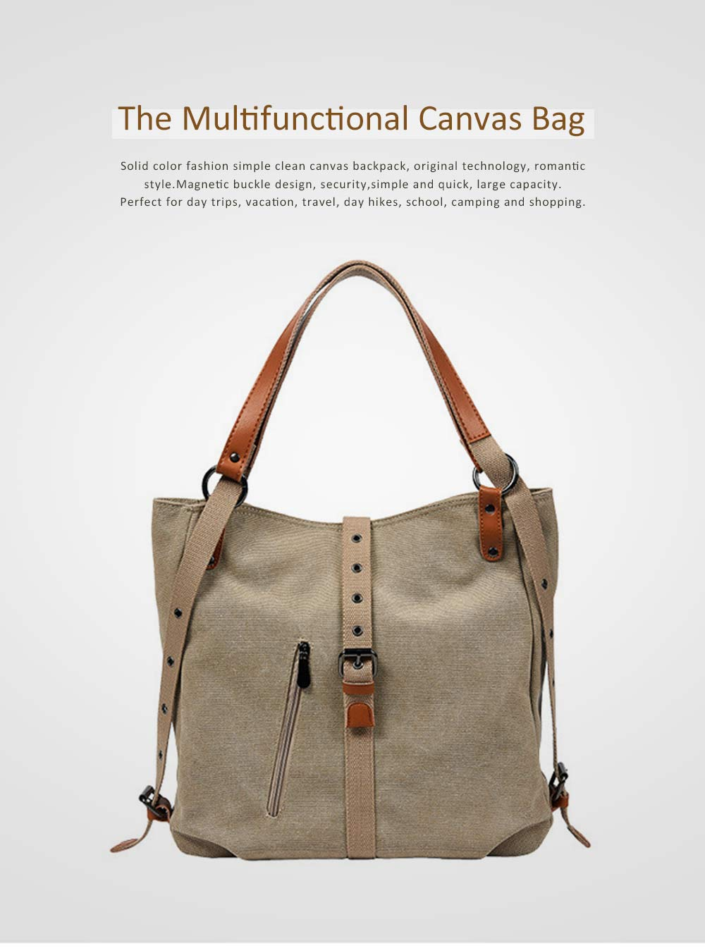Multifunctional Backpack Shoulder Bag Fashion Casual Canvas Hobo Bags Women Accessories Large Capacity Travel Bag 0