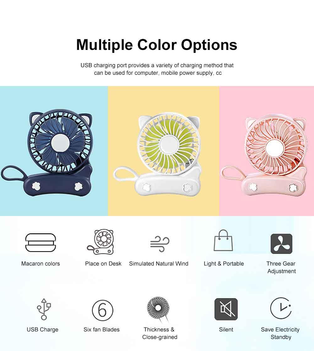 USB Fan Chargeable for Summer Day Kitty Shape Silence Portable Mini Fan 4
