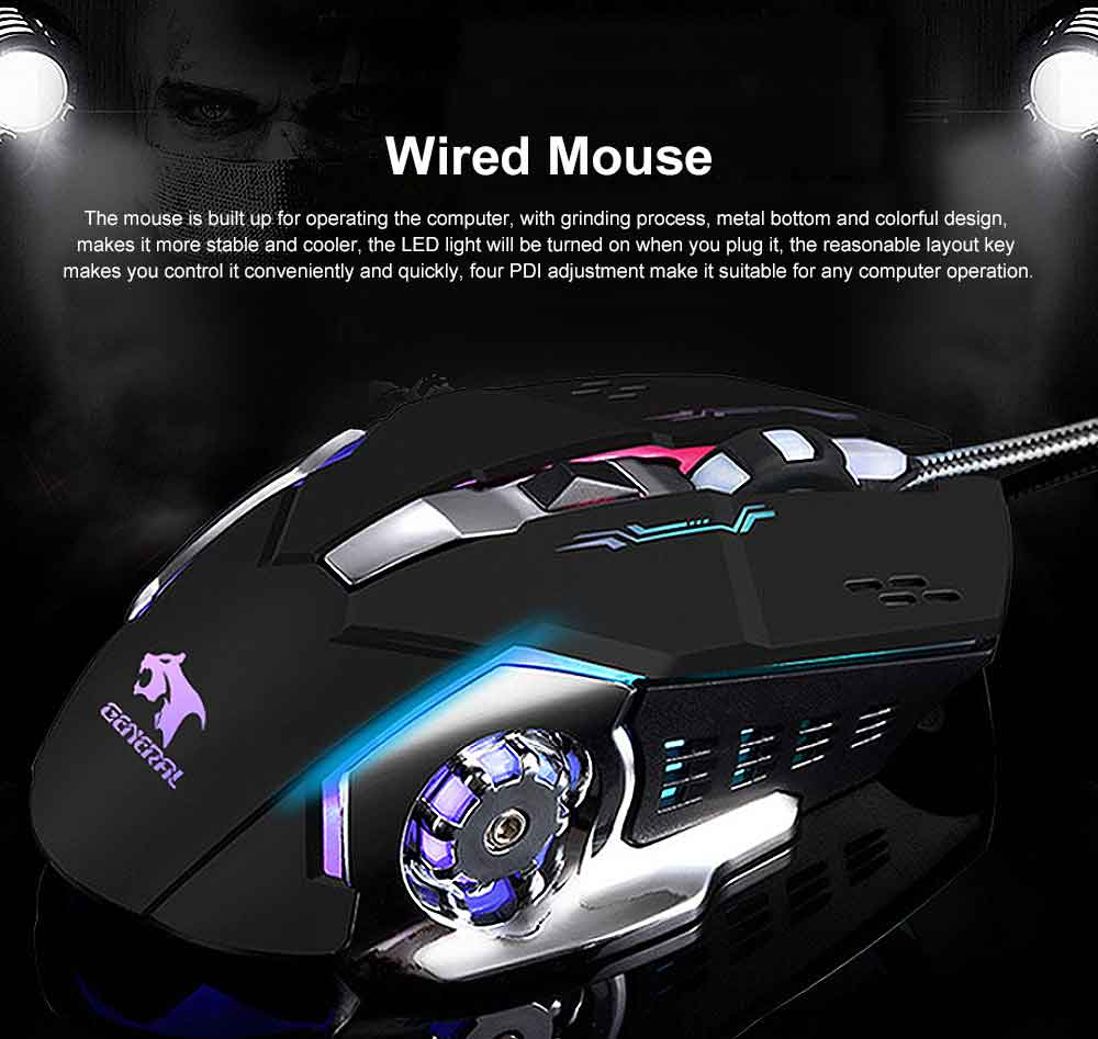Four DPI Adjustment Mouse with LED for Game Play Computer Case High-performance Wired Mouse 0