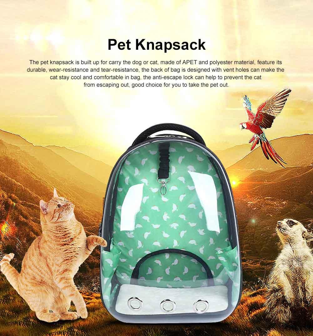 Transparent Knapsack for Pet Dog Cat APET Polyester Material with Vent Design Rucksack Tear-resistance Bag Durable Pack-sack 0