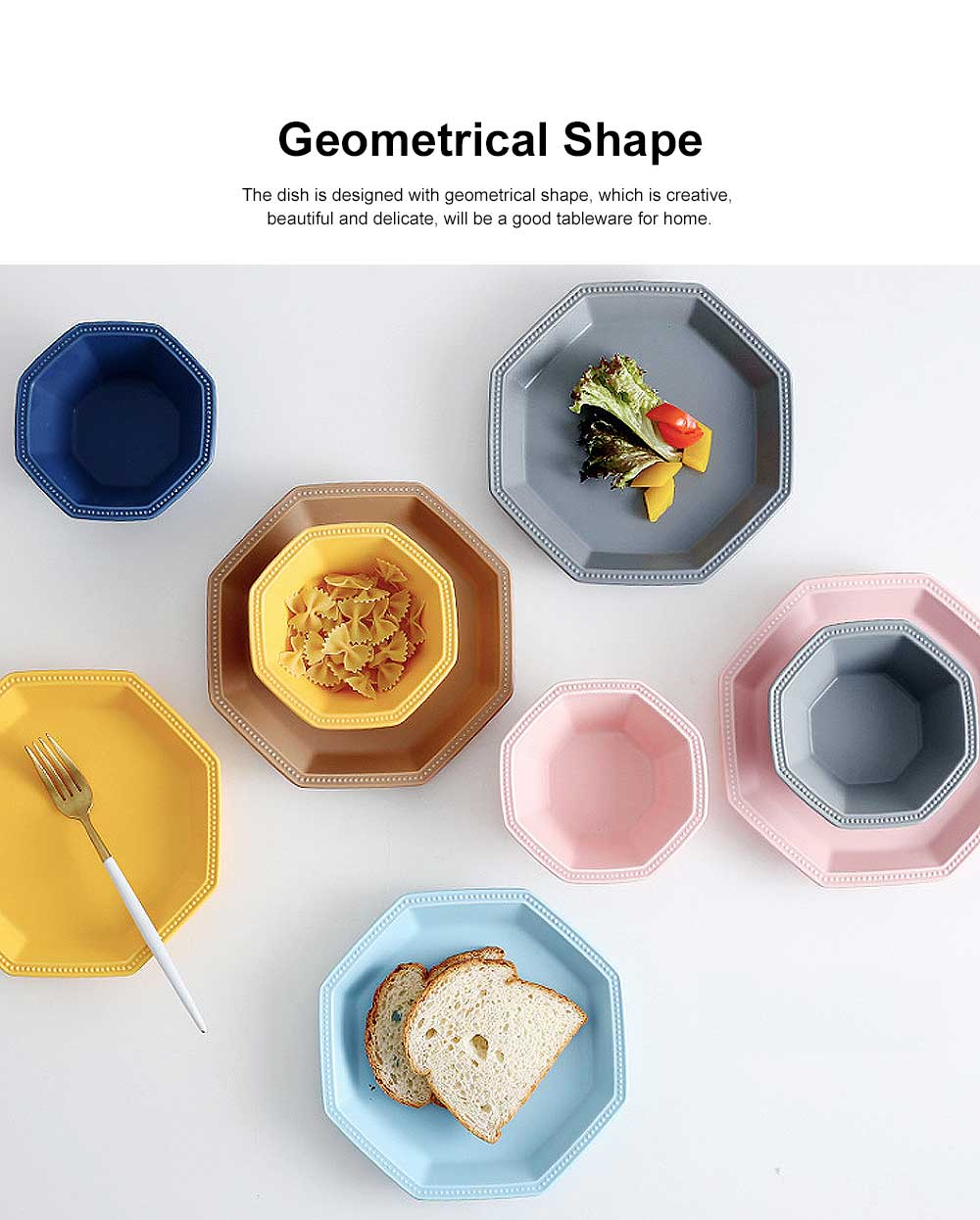 Geometrical Dish Porcelain Material Tray for Home Hotel Foods Hollow-ware Elegant Plate 2
