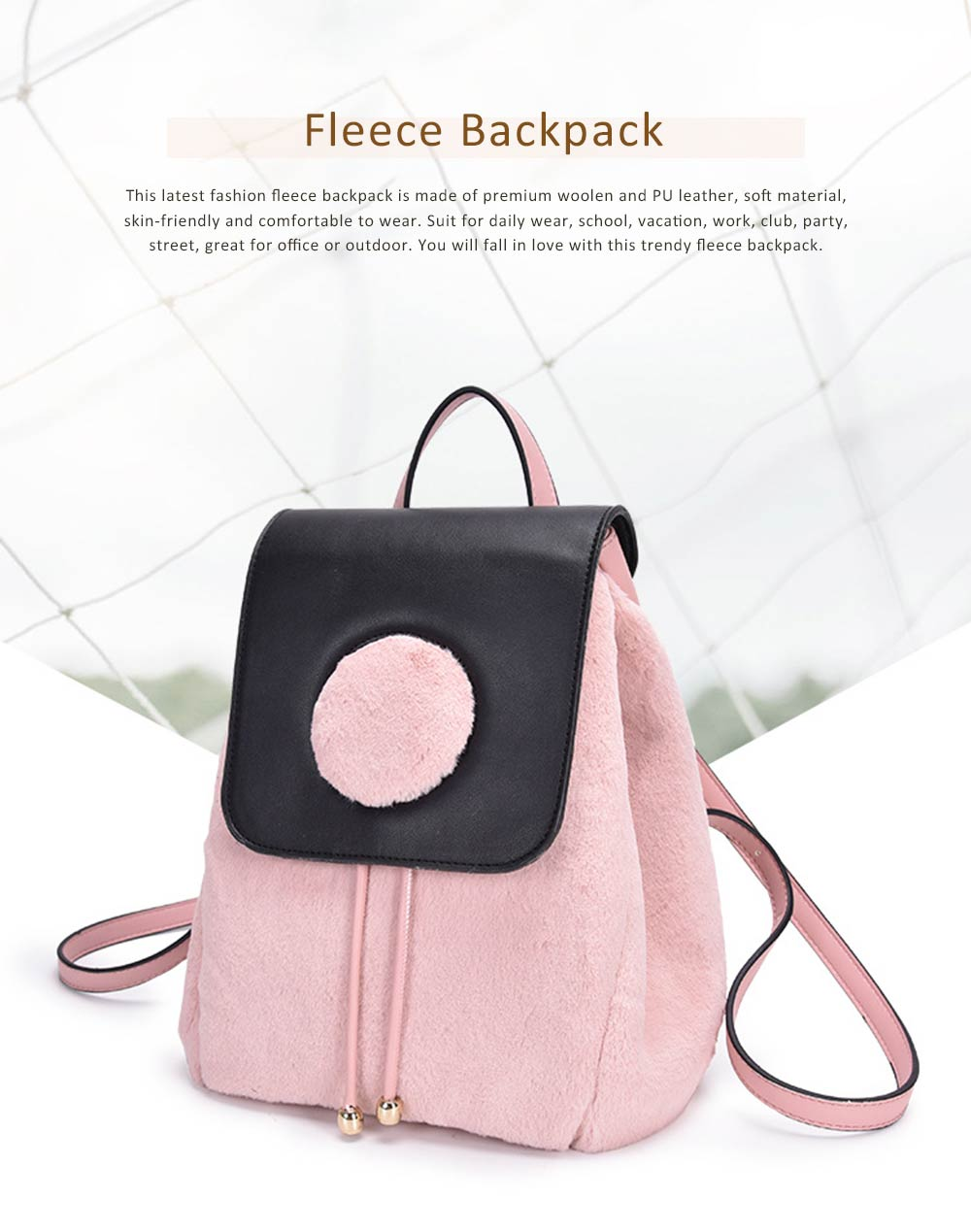 Cute Casual PU Woolen PU Leather Rucksack Shoulder Bag Women Fashion Accessories Elegant Drawstring Travel Backpack 0