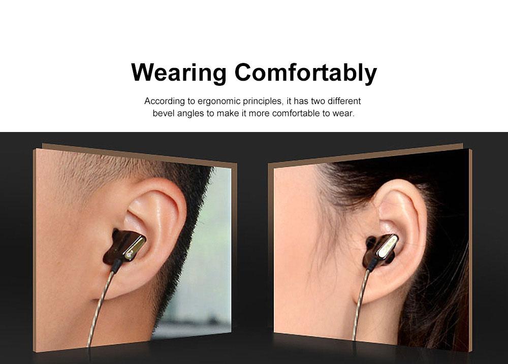 Wire Earphone Anti-pulling Wire Headset Comfortable Wearing HIFI Effect Earpiece Double Dynamic Earplug 5