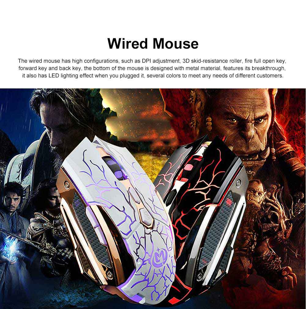 Wired Mouse DPI Adjustment with LED Lighting Metal Base for Game Mouse 0