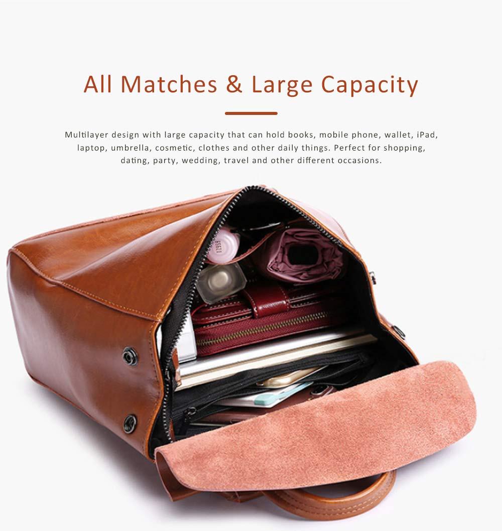 Retro Waxing Double Layer Cowhide Rucksack Shoulder Bag Women Fashion Accessories Elegant Large Capacity Travel Bag 4