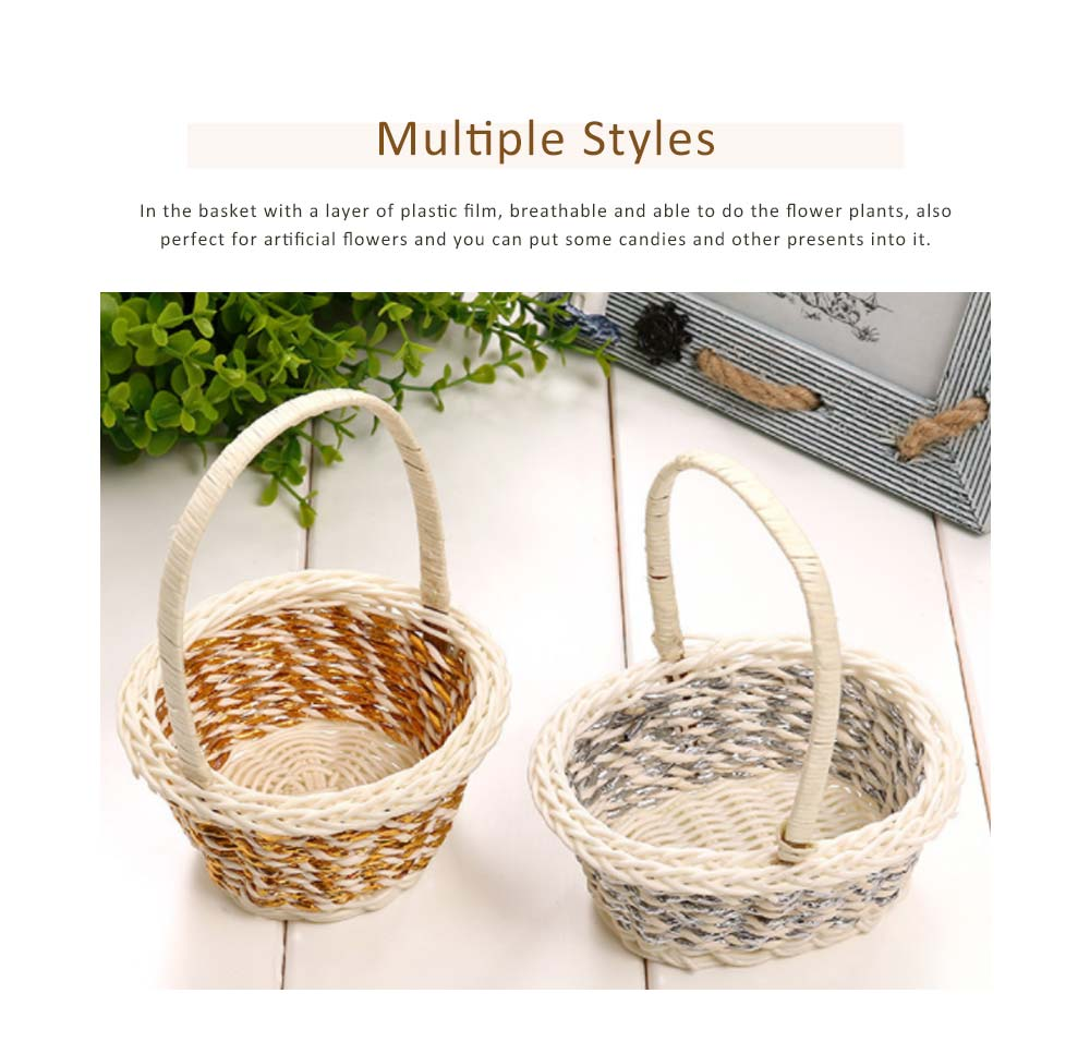 Portable Rattan Weaving Basket for Storage, Wedding as Decoration Tool, Multiple Styles DIY Handmade Flower Arrangement Basket 5