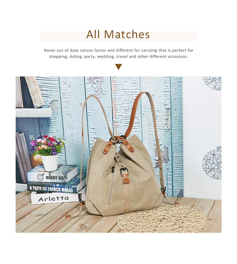 Multifunctional Backpack Shoulder Bag Fashion Casual Canvas Hobo Bags Women Accessories Large Capacity Travel Bag 5