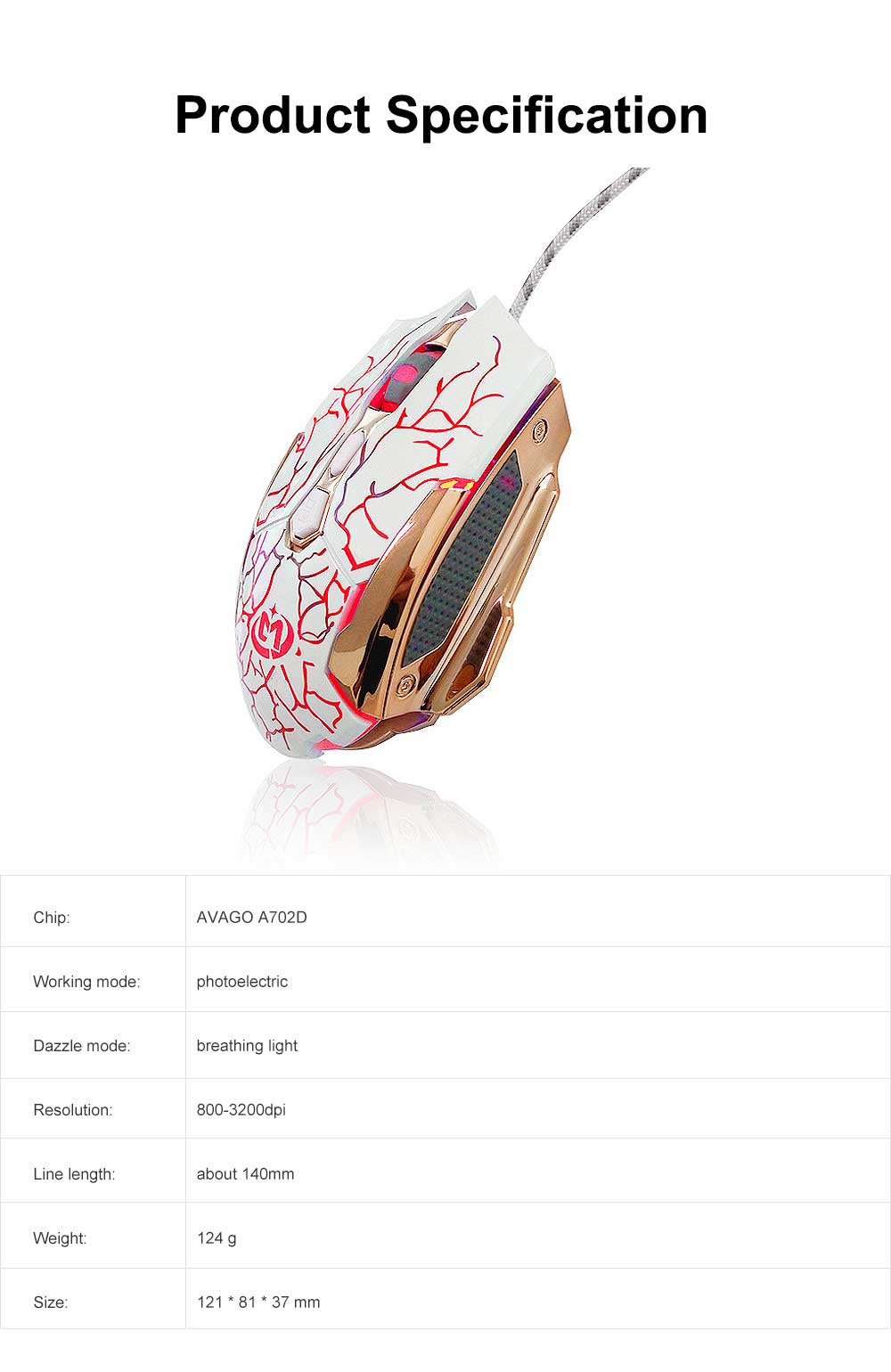 Wired Mouse DPI Adjustment with LED Lighting Metal Base for Game Mouse 6