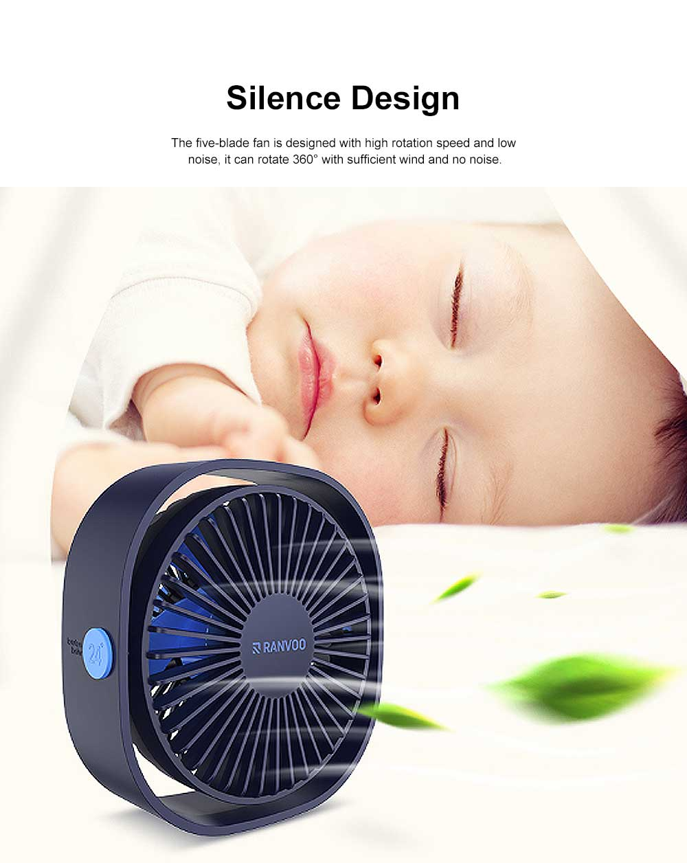 Mini Fan USB Chargeable for Hot Day Silence Outside Office Desk Portable 360° Rotation Fan 2