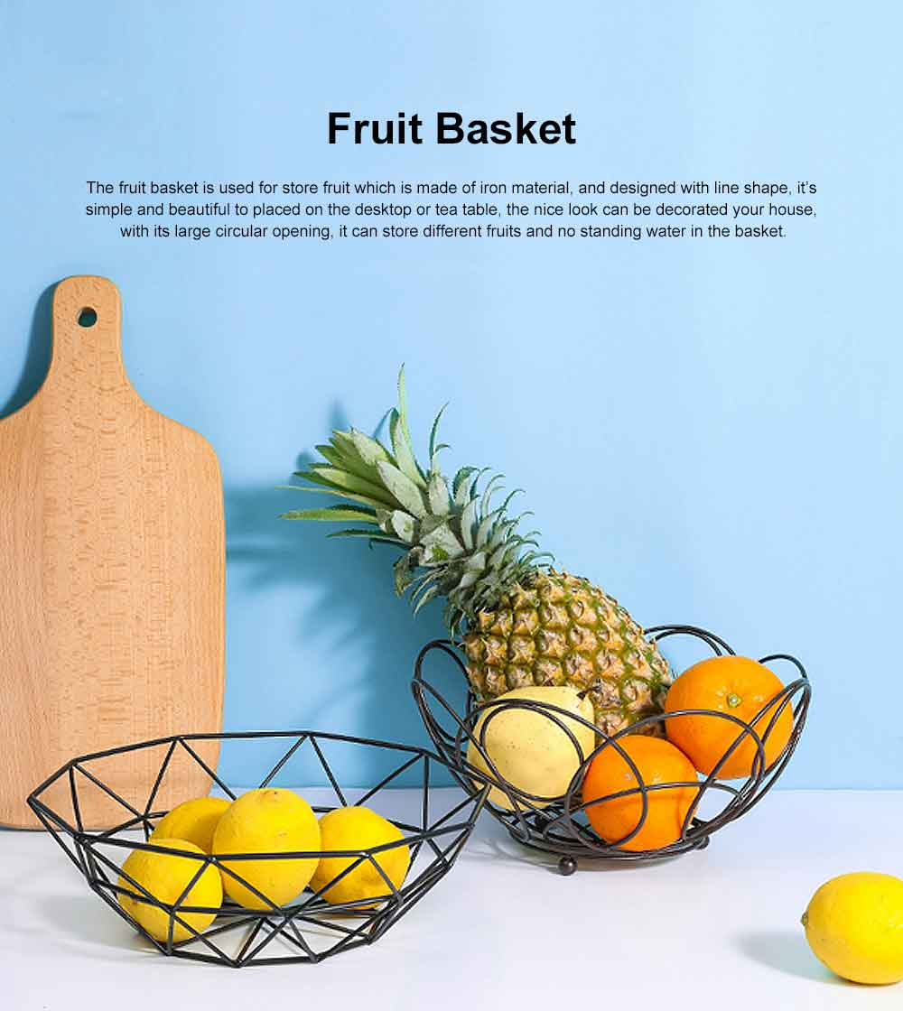 Iron Fruit Basket For Home Store Fruits Tray Line Design Bowl Simple Style Fruit Plate 0