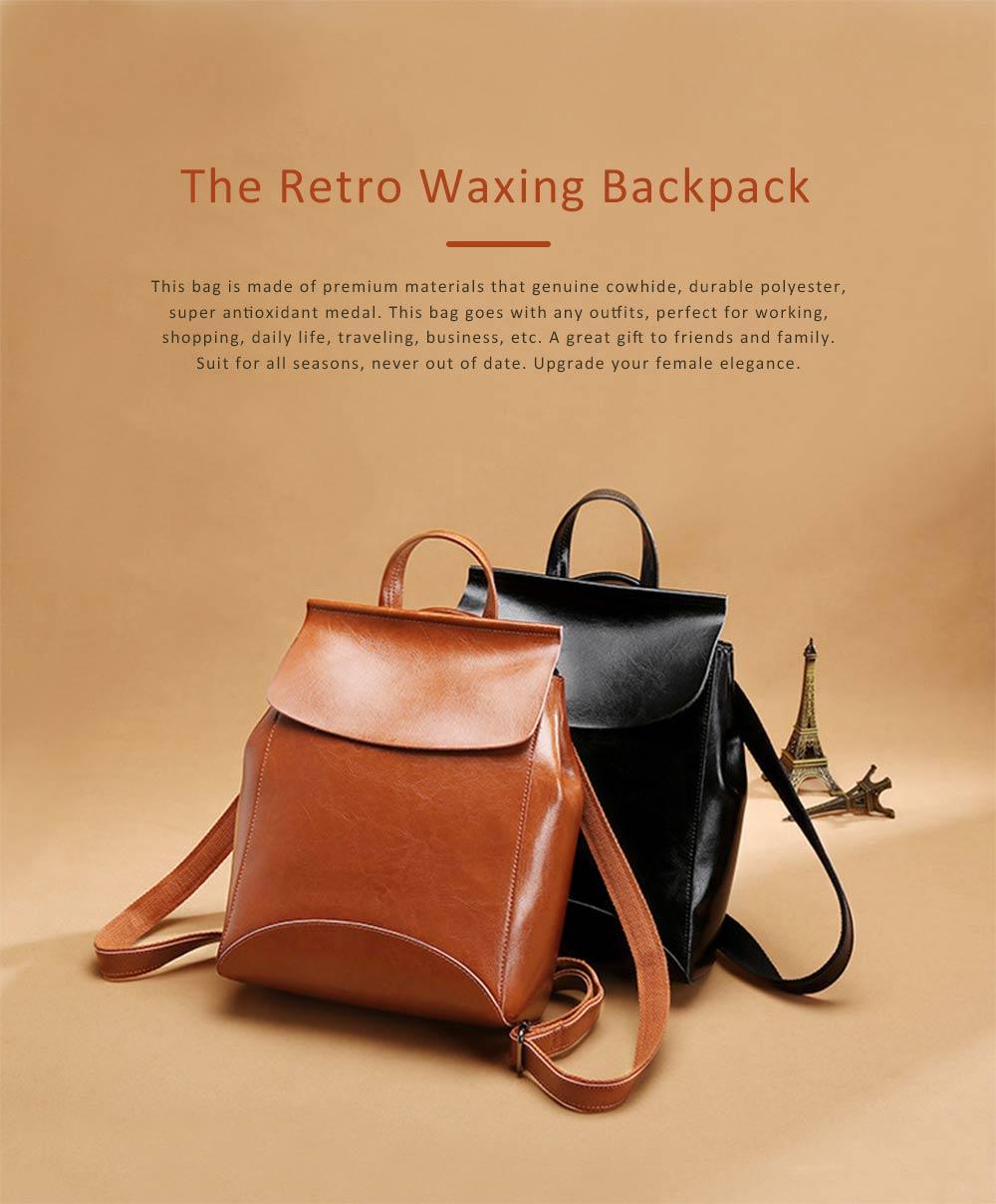 Retro Waxing Double Layer Cowhide Rucksack Shoulder Bag Women Fashion Accessories Elegant Large Capacity Travel Bag 0