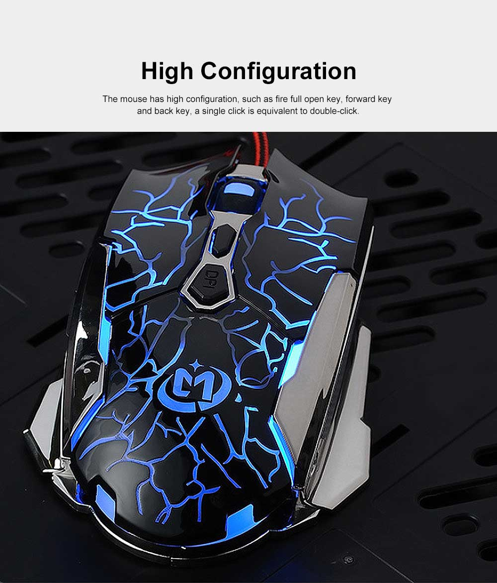 Wired Mouse DPI Adjustment with LED Lighting Metal Base for Game Mouse 5