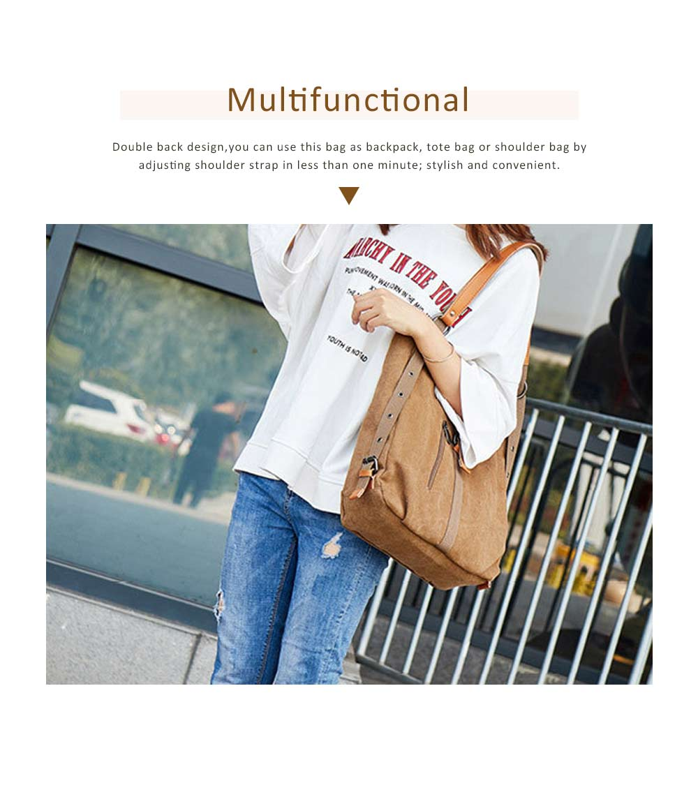 Multifunctional Backpack Shoulder Bag Fashion Casual Canvas Hobo Bags Women Accessories Large Capacity Travel Bag 3