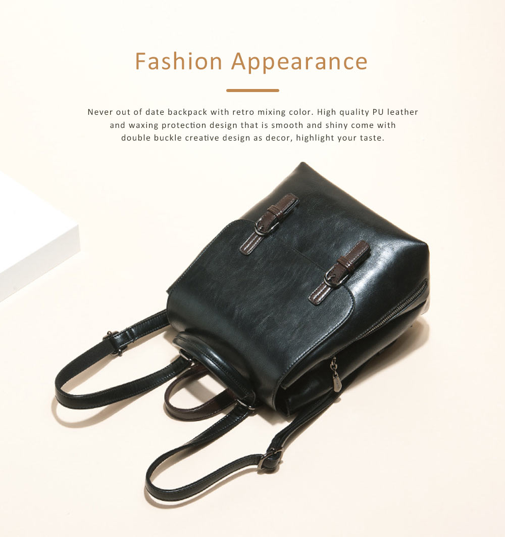Vintage Casual Magnetic Travel Backpack, Elegant Girl PU Leather Rucksack Shoulder Bag 2