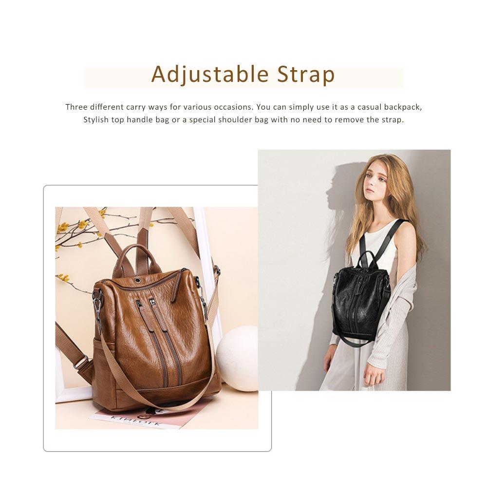 Casual Brown Backpack & Shoulder Bag, Vintage Style Multiple Pockets Large Bag for Travel, School 5