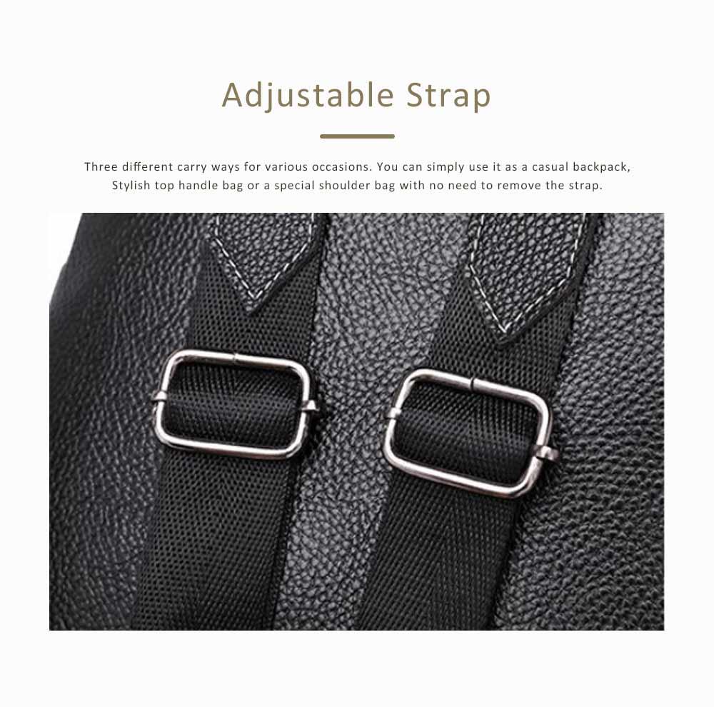 Magnetic Elegant Girl Travel Backpack, Fashion Plaid Casual PU Leather Rucksack Shoulder Bag 5