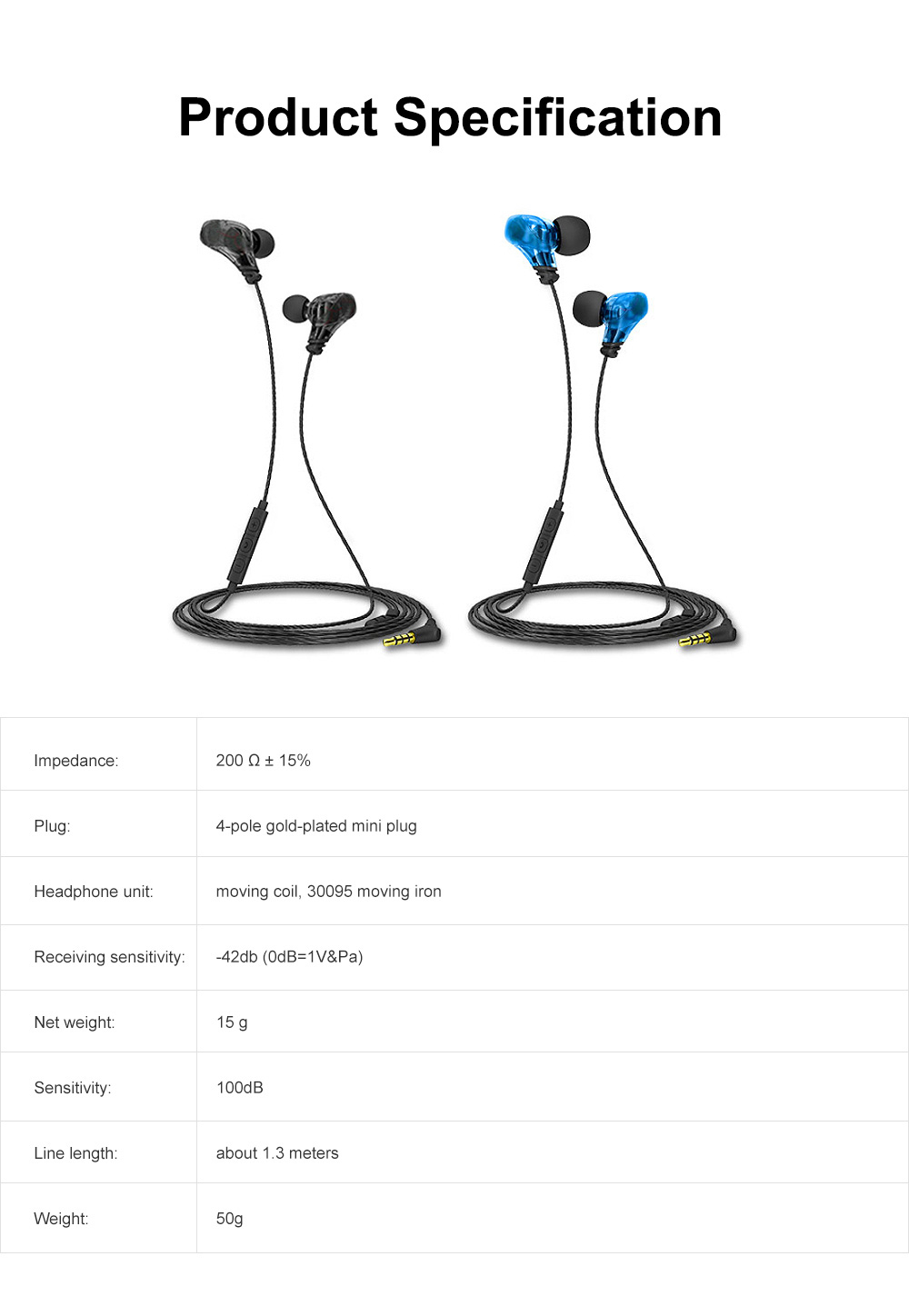 Earphone Three Key Control HIFI Earplug for Sport Common Device Powerful Quality Sound Headset Wire Earpiece 6