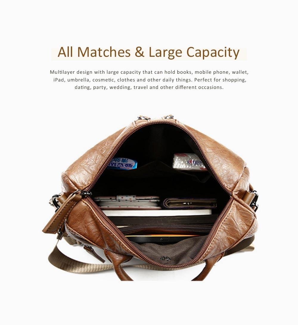 Casual Brown Backpack & Shoulder Bag, Vintage Style Multiple Pockets Large Bag for Travel, School 4