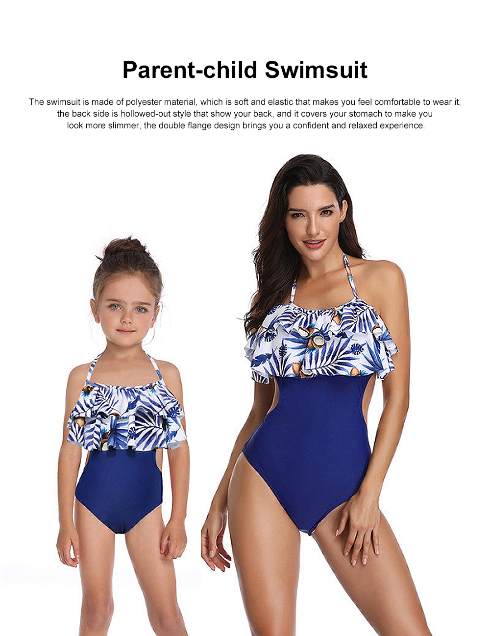 Double Flange Swim Dress Soft One-piece Swimsuit with Strap Off Shoulder Bathing Suit for Mother-girl 0