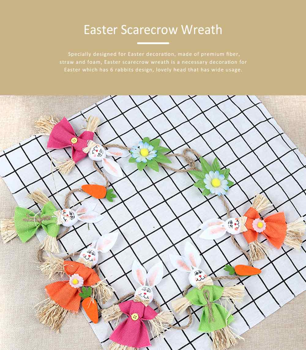 Easter Scarecrow Wreath with 6 Rabbits Design for Kindergarten Children, Creative DIY Handmade Wreath 0
