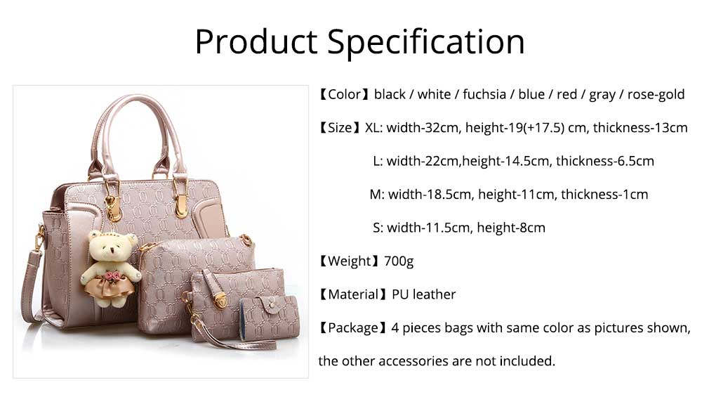 Elegant Women Accessories Ellipse Chain PU Leather Lady Tote Bag Sets 4PCS 9