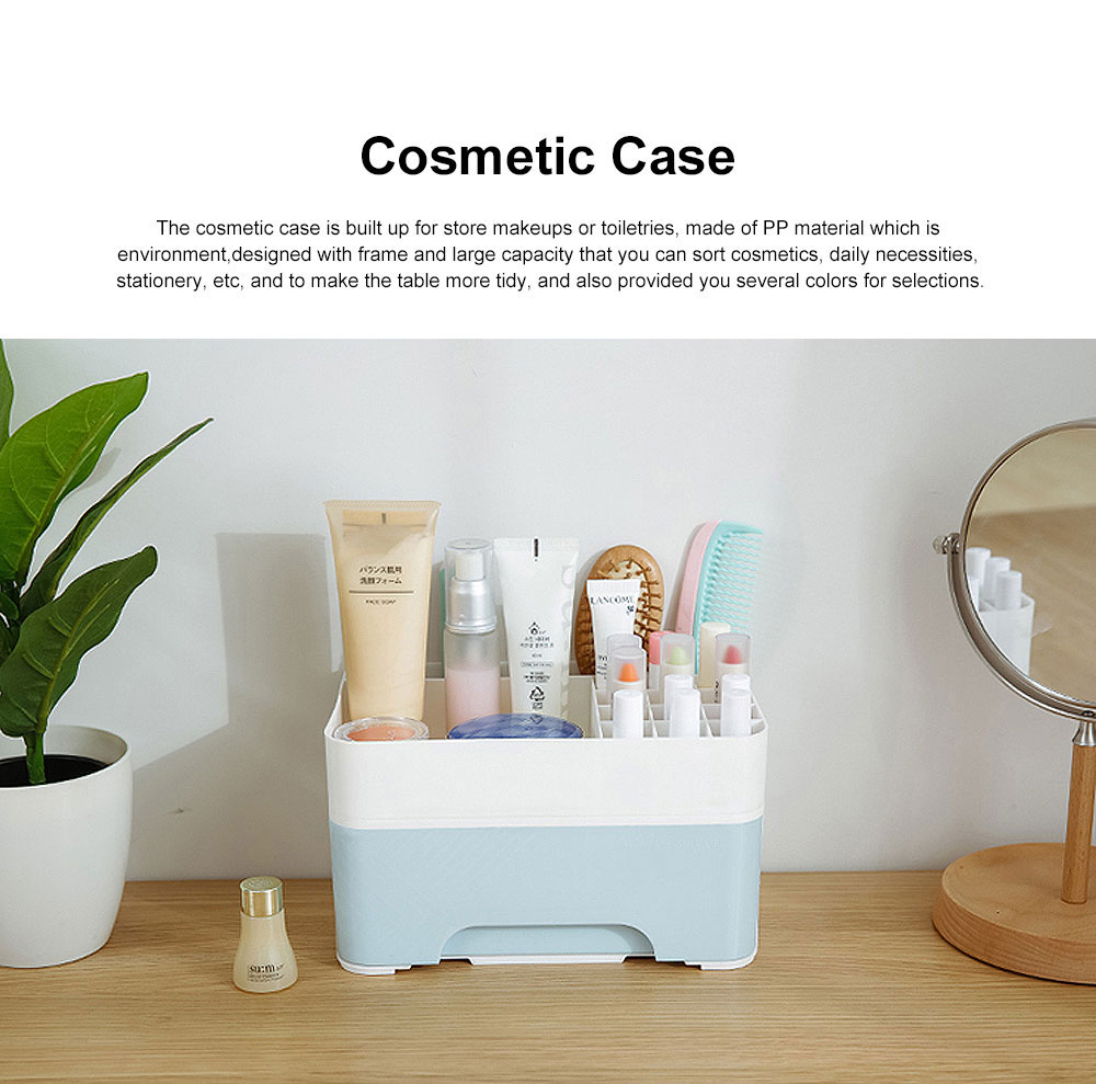 Cosmetic Case PP Powder Box Dressing Container Large Capacity Storage Makeup Box with Drawer Vanity Case 0