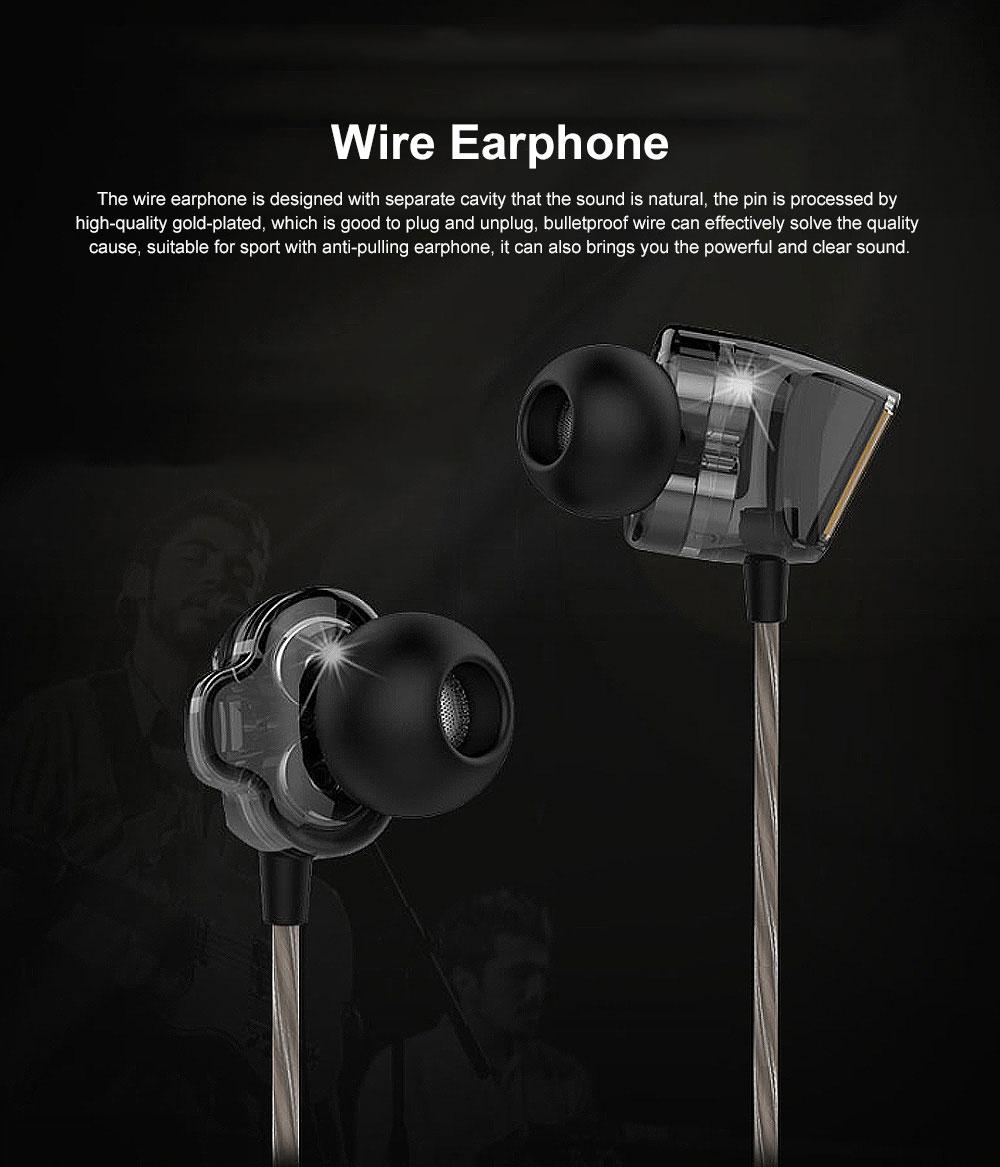 Wire Earphone Anti-pulling Wire Headset Comfortable Wearing HIFI Effect Earpiece Double Dynamic Earplug 0