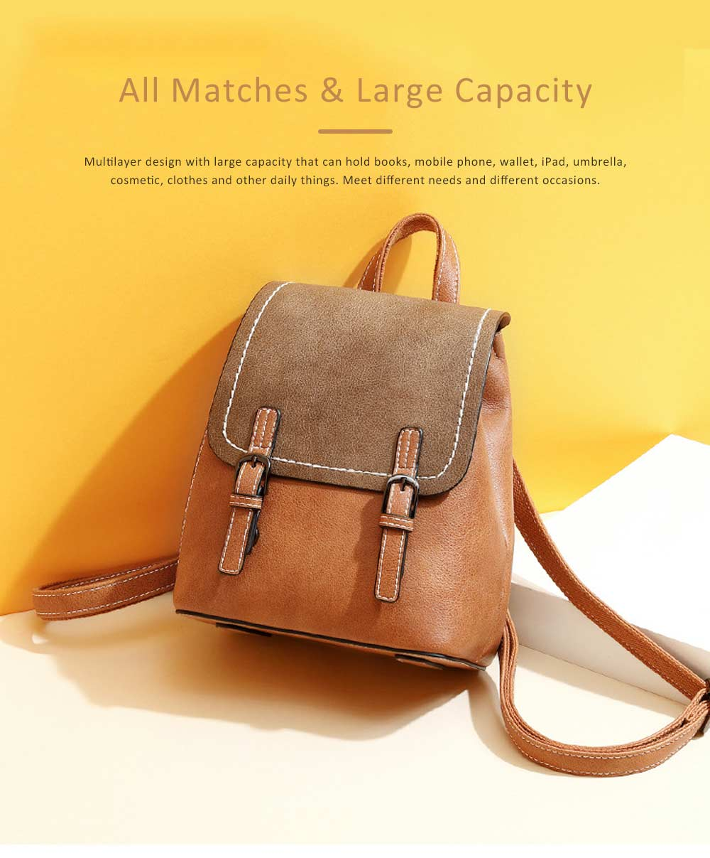 Vintage Casual Magnetic Travel Backpack, Elegant Girl PU Leather Rucksack Shoulder Bag 4
