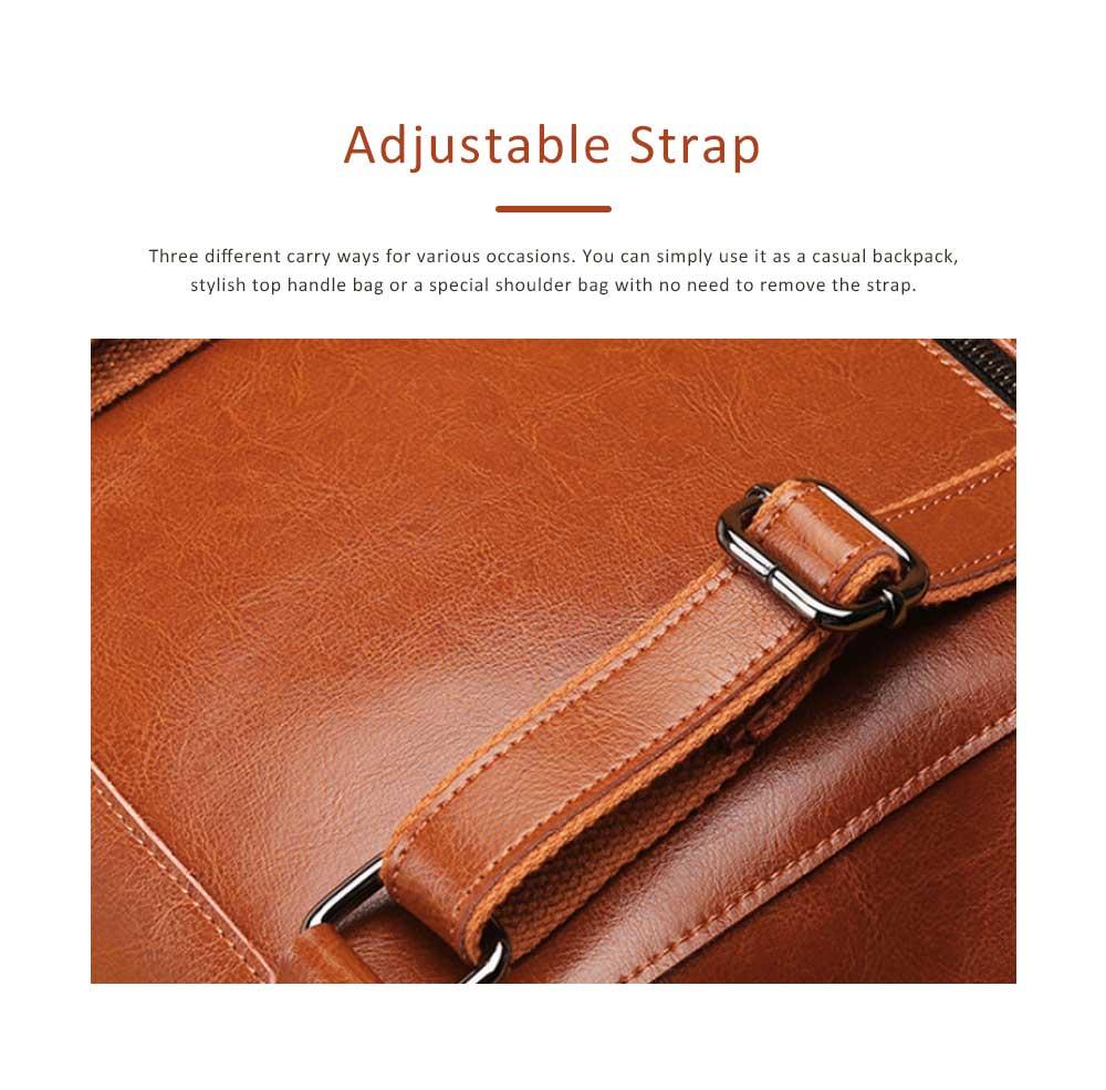 Retro Waxing Double Layer Cowhide Rucksack Shoulder Bag Women Fashion Accessories Elegant Large Capacity Travel Bag 5