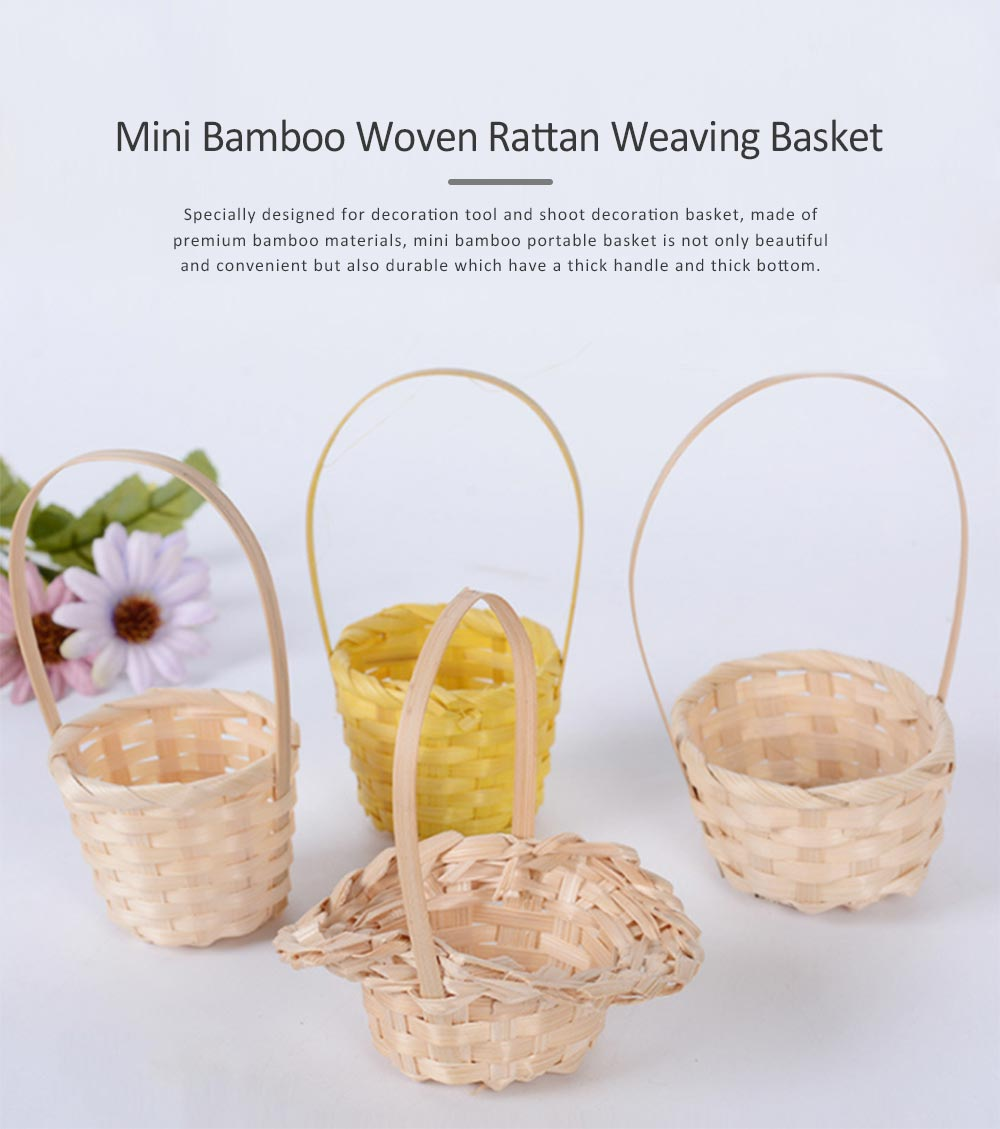 Mini Bamboo Woven Rattan Weaving Basket for Storage, Wedding as Decoration Tool and Shoot Decoration, DIY Handmade Flower Arrangement Basket 0