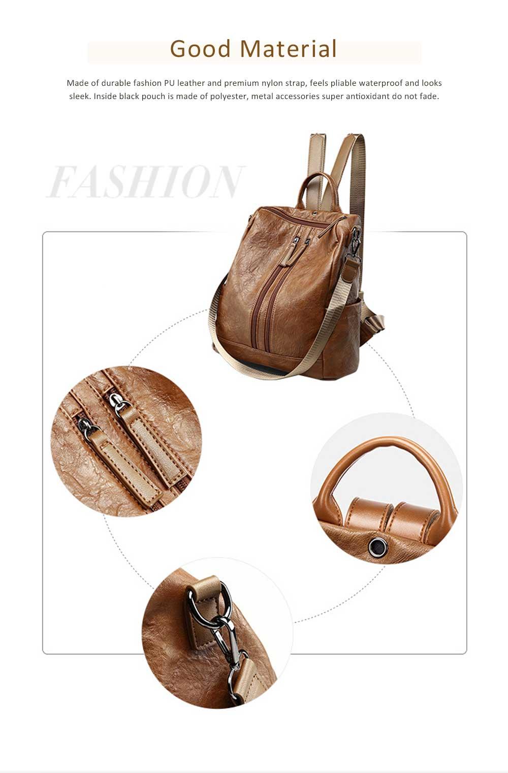 Casual Brown Backpack & Shoulder Bag, Vintage Style Multiple Pockets Large Bag for Travel, School 1