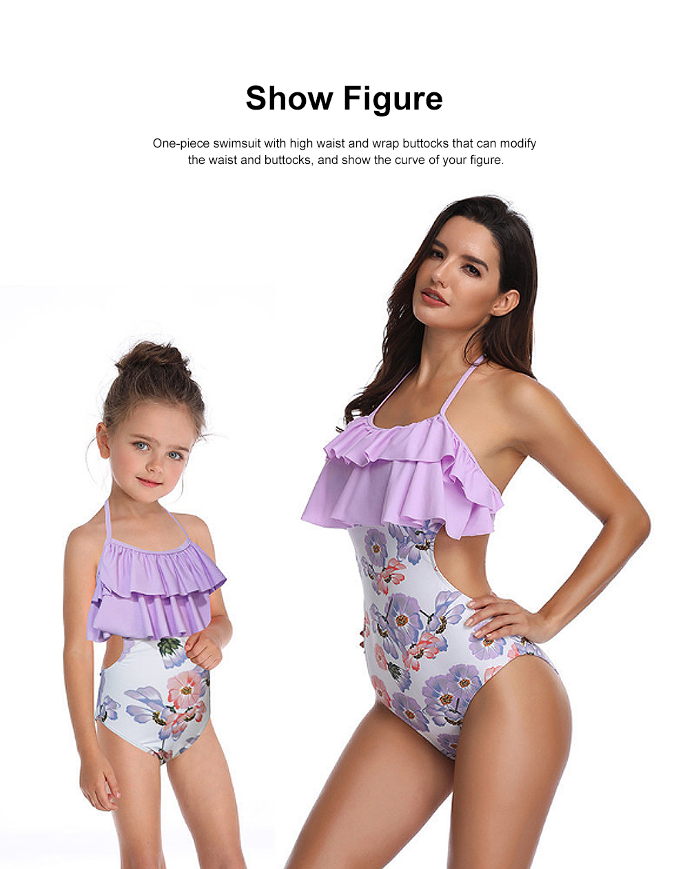 Double Flange Swim Dress Soft One-piece Swimsuit with Strap Off Shoulder Bathing Suit for Mother-girl 4